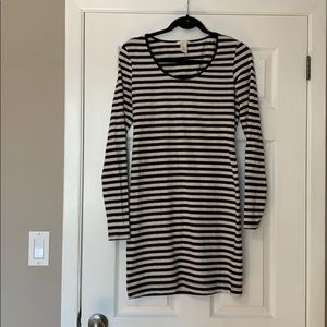 H&M grey and navy striped dress